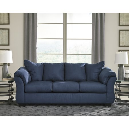 Flash Furniture Signature Design by Ashley Darcy Sofa in Blue Microfiber
