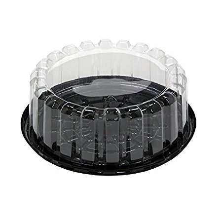 Pactiv YEH8-9702, 7-Inch Plastic Black Base Cake Container With Clear Shallow Dome Lid, Take Out Catering Pastry Display Box - Lvds Display