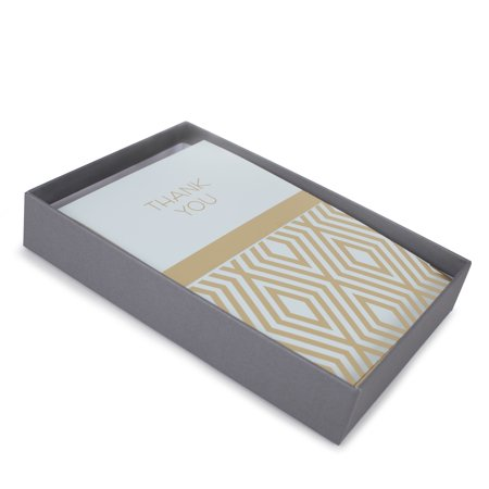 Hallmark Thank You Note Assortment (Blue and Gold, 50 Cards and Envelopes)