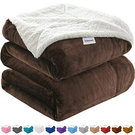 KAWAHOME Oversized Sherpa Blanket Extra Warm Thick Winter Blanket for Couch Sofa Bed Queen Size 90 X 90 Inches Brown - image 1 of 1