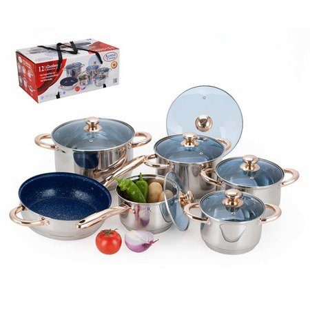 Alpine cuisine 12 piece jumbo 7 layer stainless steel for Alpine cuisine ceramic cookware