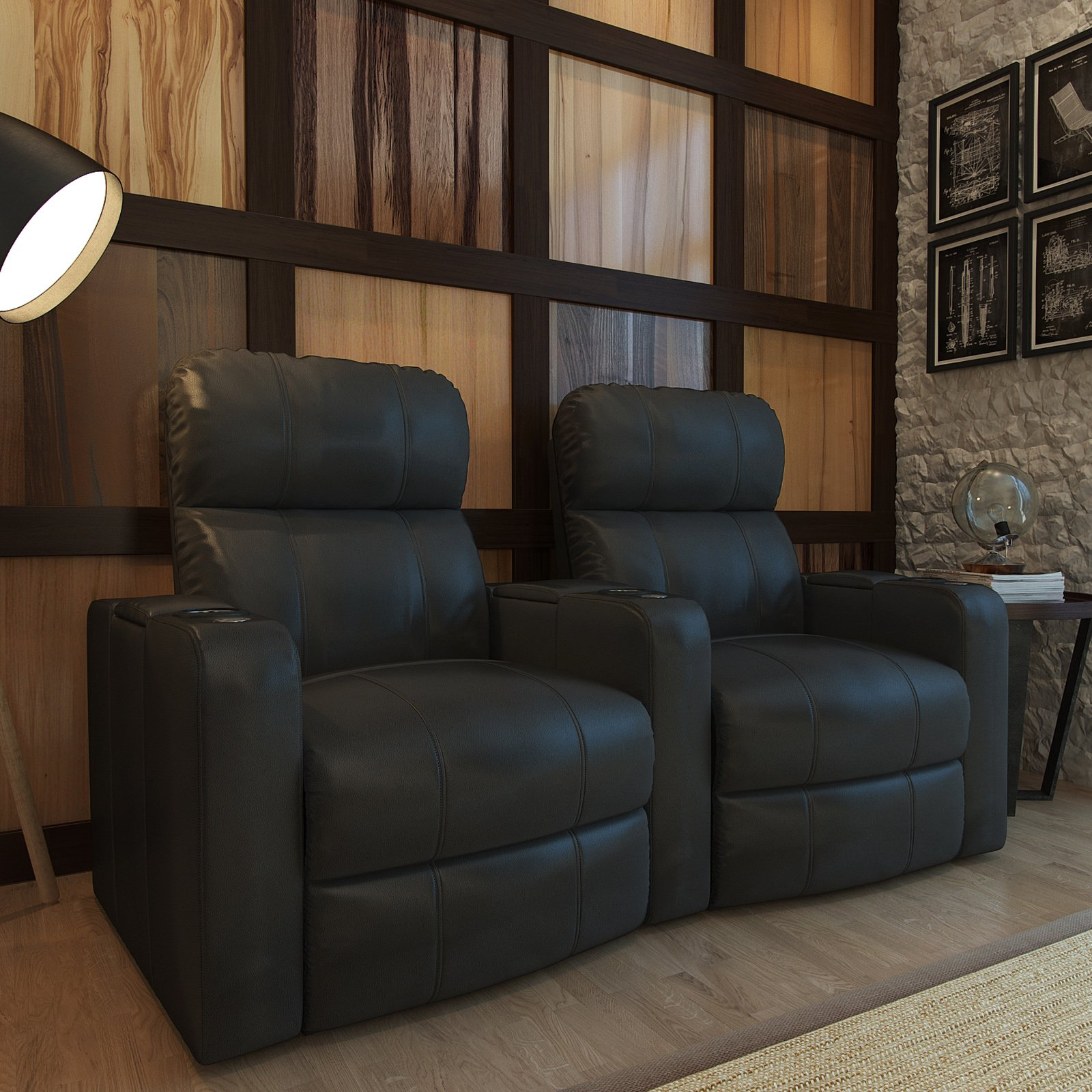 Octane Turbo XL700 2 Seater Curved Bonded Leather Home Theater Seating