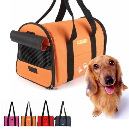 Puppy Carrier - Pet Dog Bag Carrier- Folding Bag Cat Bags Puppy Carrier Travel Tote Kitten Box Cage Breathable Mesh Handbag for Pet Between 0.5-3.5KG Color:Rose Red/Red/Blue