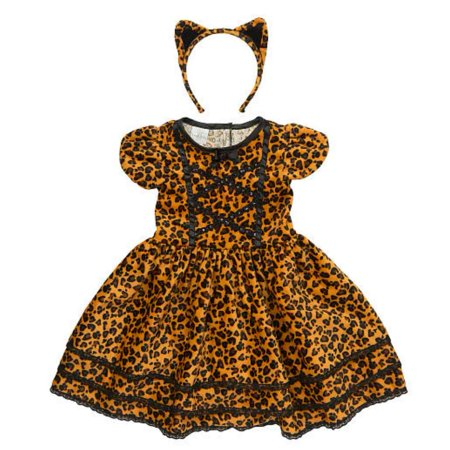Brown Coat Costume (Koala Kids Toddler Girls Cat Costume Leopard Print Dress with Tail & Headband)