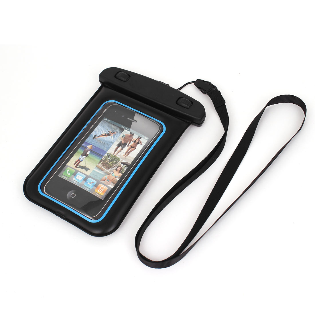 "Waterproof Swimming Pouch Bag Case Blue for 4.5"" Cell Phone w Neck Strap"