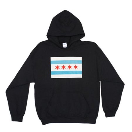 Fox Outdoor 64-8501 S Chicago Flag Pullover Hoodie Sweatshirt, Black - (Fox Valley Mall Chicago)