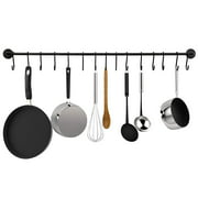 Greenco Pot And Pan Wall Mounted Rail With 15 Hooks-Black