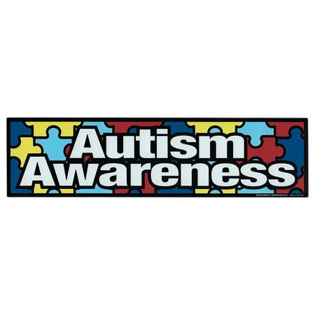 Magnetic Bumper Sticker - Autism Awareness (Puzzle Pieces, Autistic) - Strip Magnet - 10.75