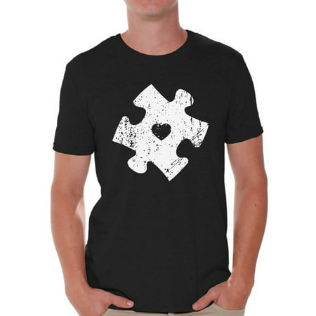 Awkward Styles Men's Puzzle Graphic T-shirt Tops for Autism Awareness