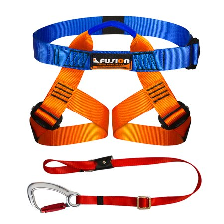 Fusion Climb Kids Backyard Zip Line Kit Harness Lanyard Bundle FK-K-HL-01 ()