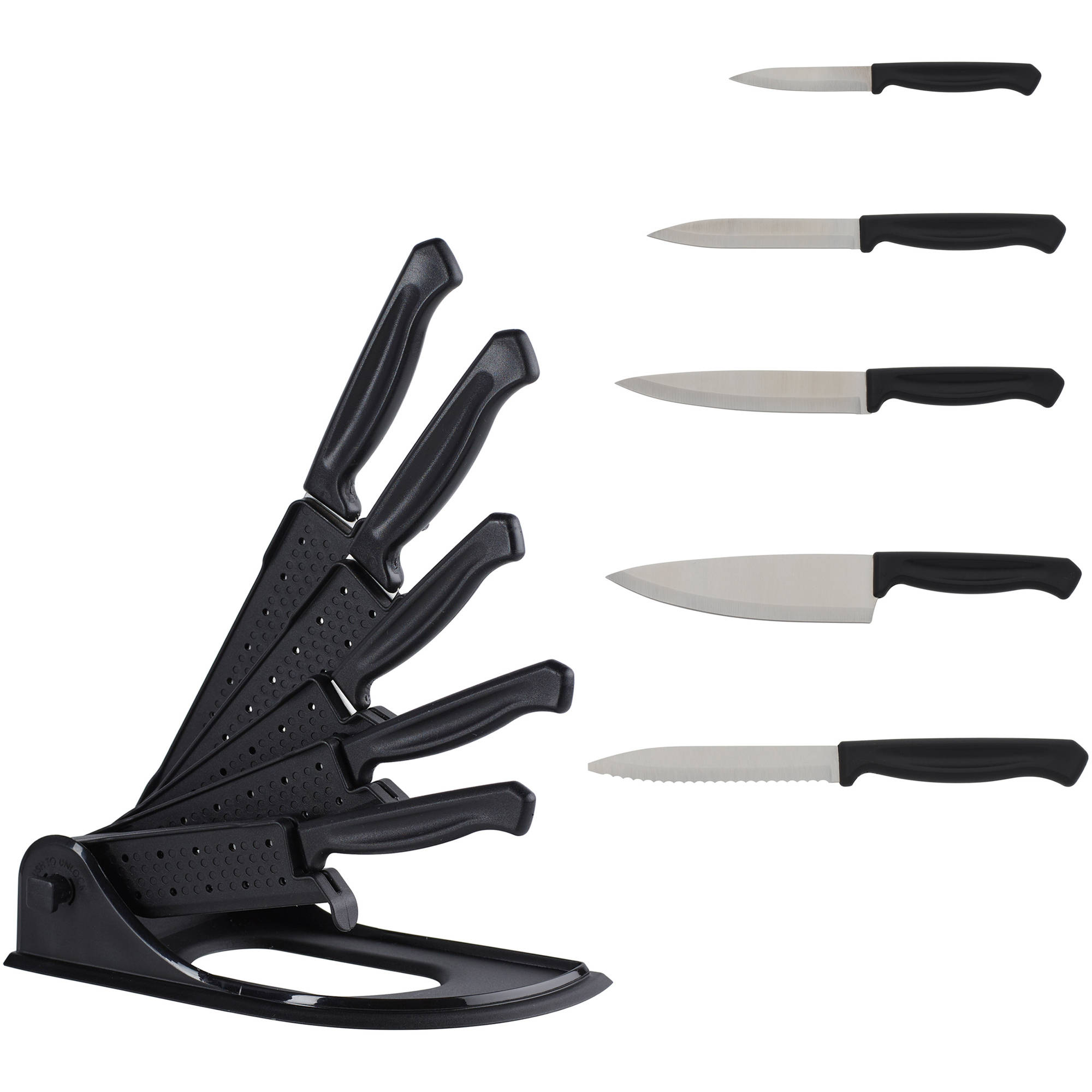 Mainstays 6 Piece Easy Storage Foldable Sheath Block Knife Set