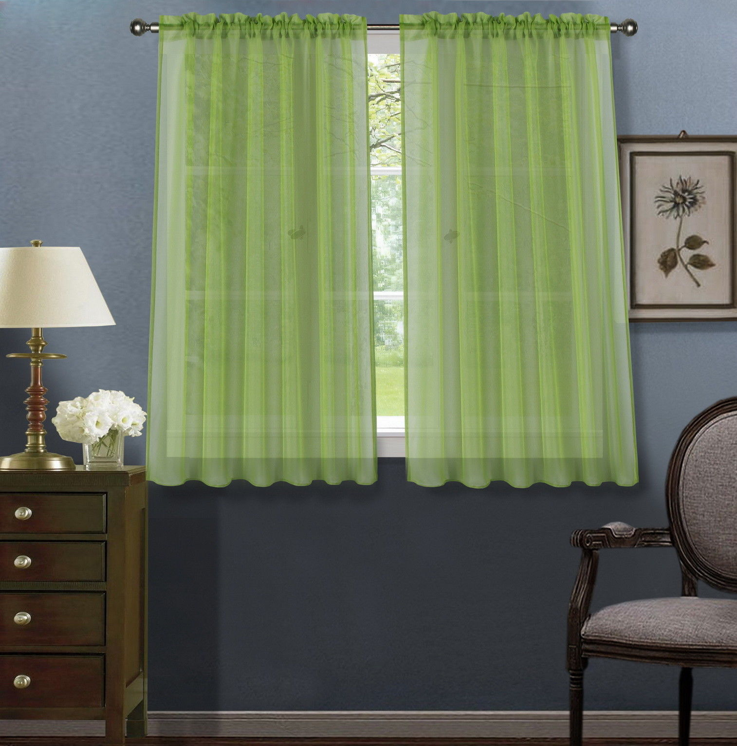 """2pc Lime Green Solid Sheer Voile Window Curtain Set, Two (2) Rod Pocket Panels 55""""W x 45""""L (Each)"""