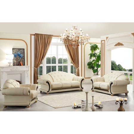 Terrific Esf Versachi Classic Ivory Beige Top Grain Italian Leather Living Room Set 3Pcs Home Interior And Landscaping Thycampuscom
