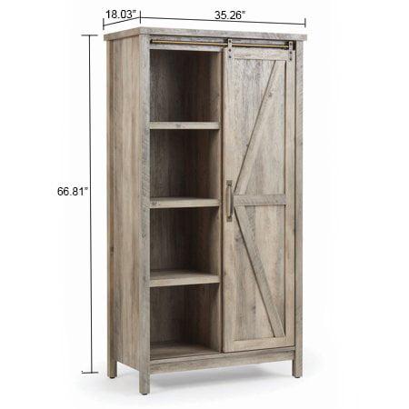 "Better Homes & Gardens 66"" Modern Farmhouse Bookcase Storage Cabinet, Rustic Gray Finish"