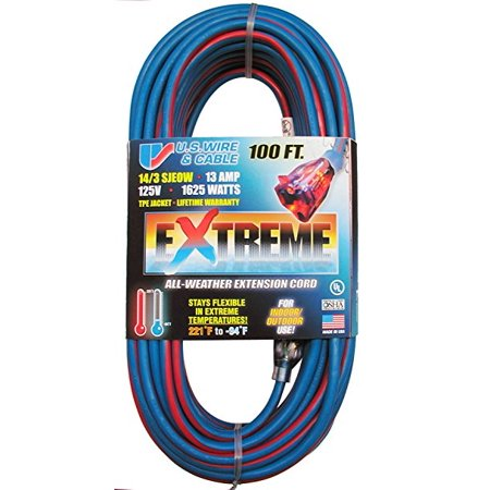 2 Wire Attached Cord - US Wire 98100 100-Foot SJEOW Cold Weather Extension Cord Blue with Lighted Plug