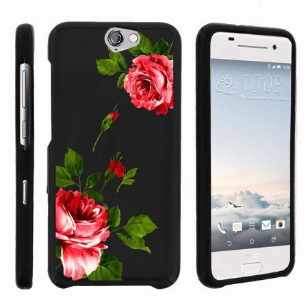 HTC One A9, HTC Aero, [SNAP SHELL][Matte Black] 2 Piece Snap On Rubberized Hard Plastic Cell Phone Cover with Cool Designs - Affectionate Flowers