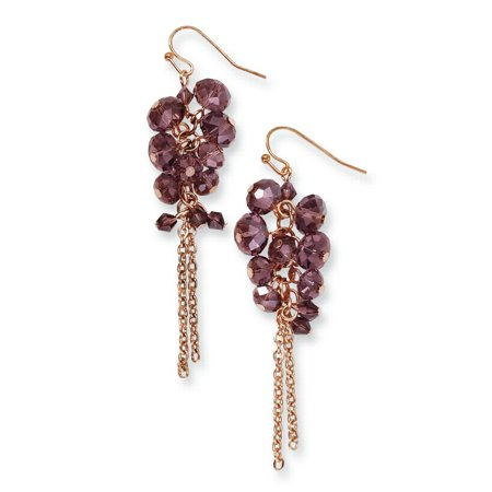 Tone Cluster Earrings (Brass Tone Purple Glass Beads Cluster Drop Dangle Chandelier Earrings Gifts For Women For Her)