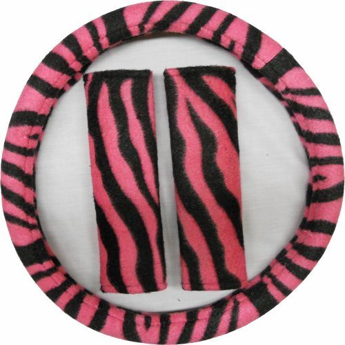 3pc Hot Pink and Black Zebra Steering Wheel Cover and Shoulder Pads