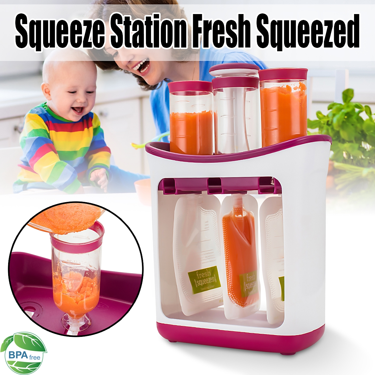 Infant Baby Feeding Food Puree Squeeze Station Pouch Spoon Fruit Maker Dispenser