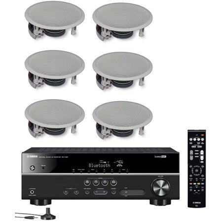 Yamaha 5.1-Channel Wireless Bluetooth 4K A/V Home Theater Receiver + Yamaha Easy-to-Install Natural Sound 2-Way Flush Mount In-Ceiling Speakers (Set of