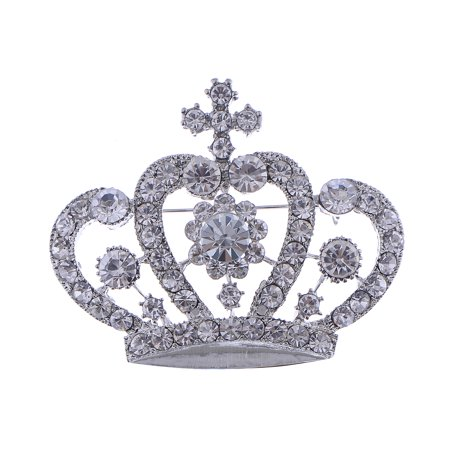 White Clear Crystal Rhinestone Royal Princess Queen Crown Brooch Pin