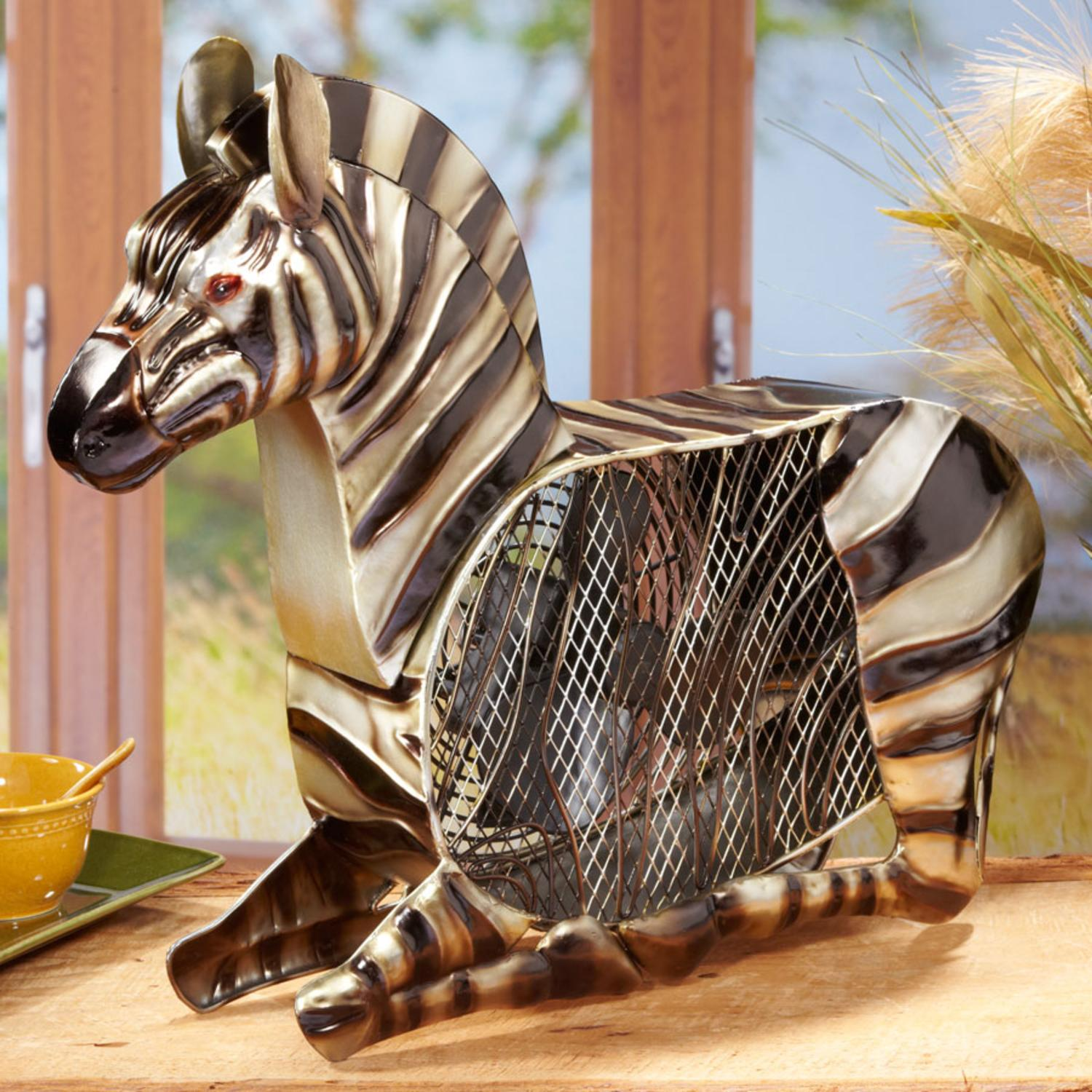 "17"" Exquisite Hand Sculpted Mr. Zebra Table Top Figure Fan"