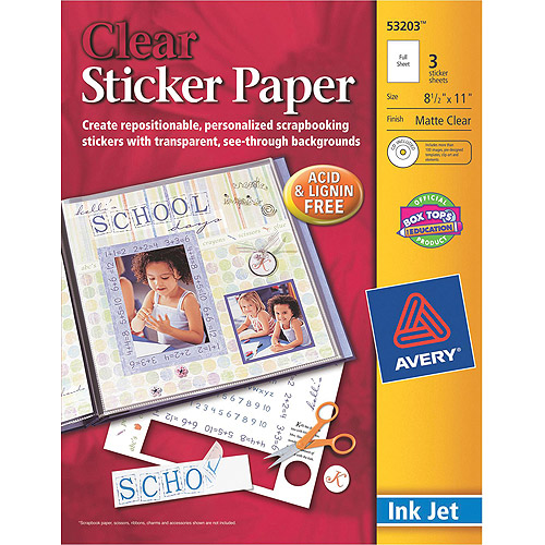 graphic relating to Printable Sticker Paper Walmart referred to as Avery Dennison Ink Jet Printable Sticker Task Paper With Cd, 8 1/2\