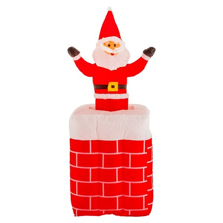 Christmas Masters 5ft Inflatable Chimney Santa Claus Pop Up LED Yard Decoration - Santa Pop
