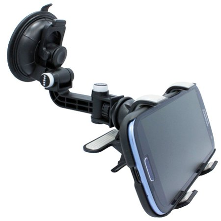 Multi-Angle Rotating Car Mount Windshield Holder Clipper Cradle Stand R4W  for ZTE Fanfare, Citrine, Blade Z Max X2 Max X MAX Vantage Spark 3 Force,