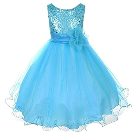 Sparkly Sequined Mesh Flower Girls Dress Pageant Wedding Prom Easter Graduation Turq 2-14](Sequin Dress With Boots)