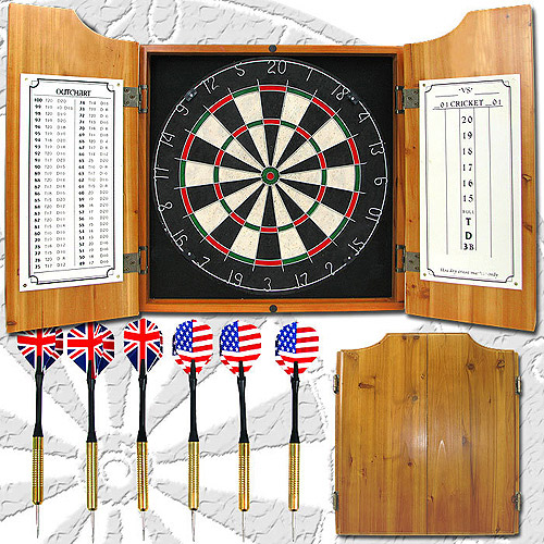 Trademark Games Professional Style Solid Wood Dart Cabinet Set with Board and Darts