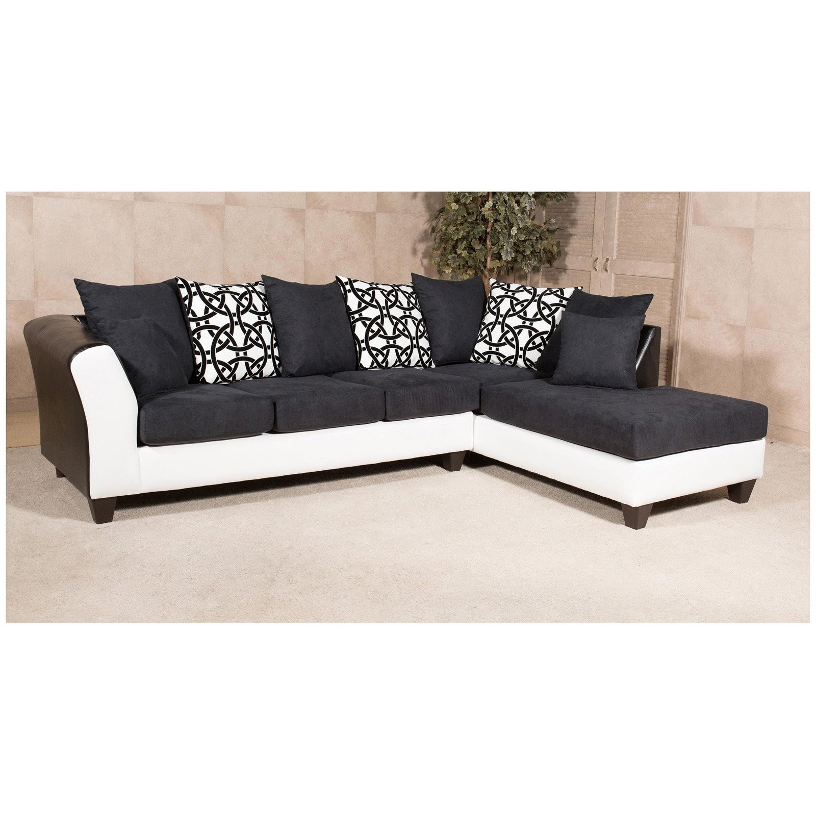 Chelsea Home Monterey 2 Piece Sectional Sofa with 7 Accent Pillows