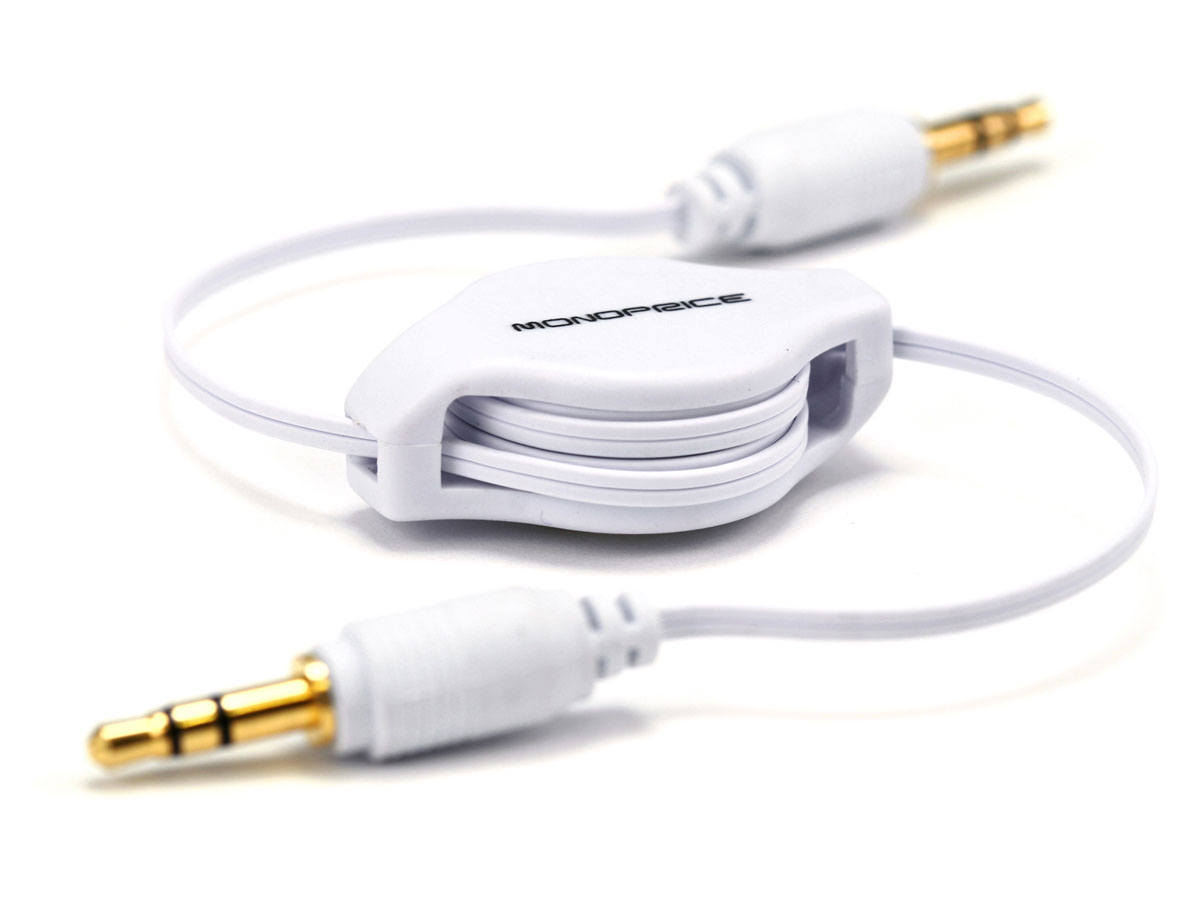 Monoprice 25ft Retractable 35mm Male Audio Cable White 3 5mm Wiring Scheme