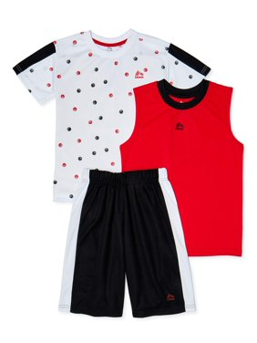 RBX Boys Printed T-Shirt, Muscle Tank Top and Mesh Shorts, 3-Piece Athletic Set, Sizes 4-12