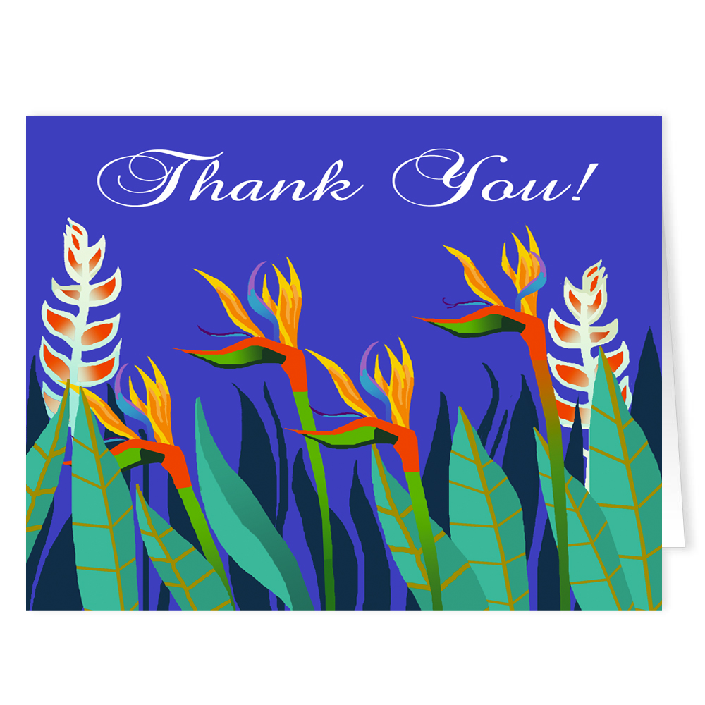 Bird of Paradise - Tropical Thank You Note Card - 18 Boxed Cards & Envelopes
