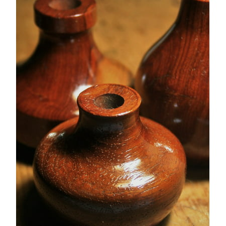 LAMINATED POSTER Wood Container Potter's Clay Pottery Bottles Poster Print 11 x 17 ()