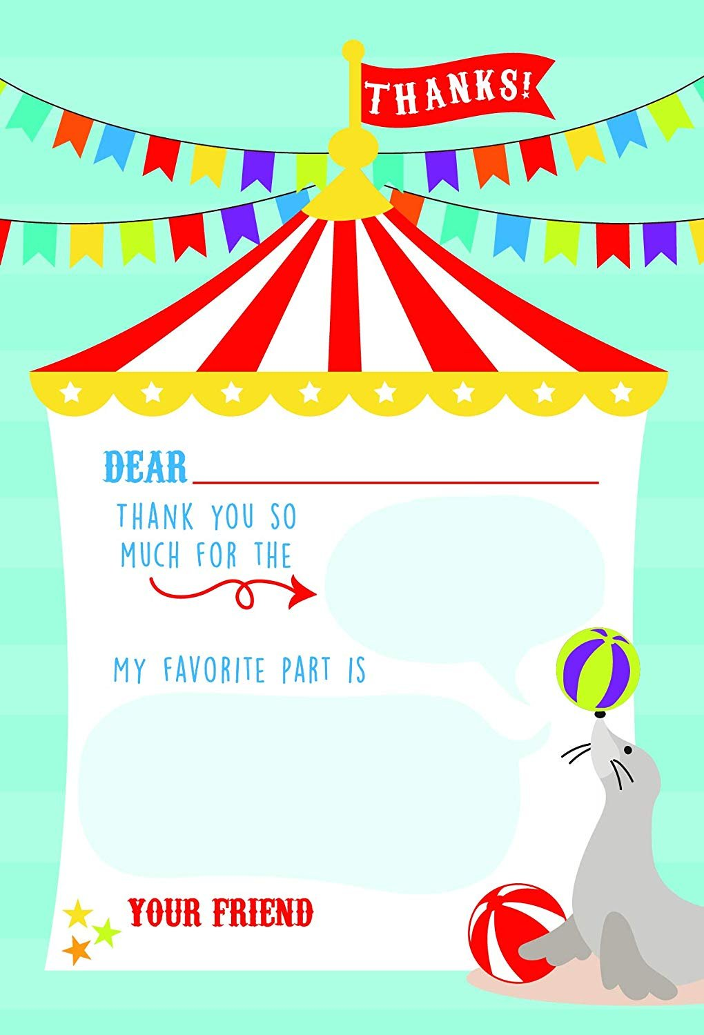 Peanut bags 5 Party Bags-Circus-Carnival-Elephant Adorable Graphics Fun!