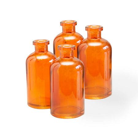 525 Orange Glass Bottles Bud Vases Food Safe Apothecary Jars 12