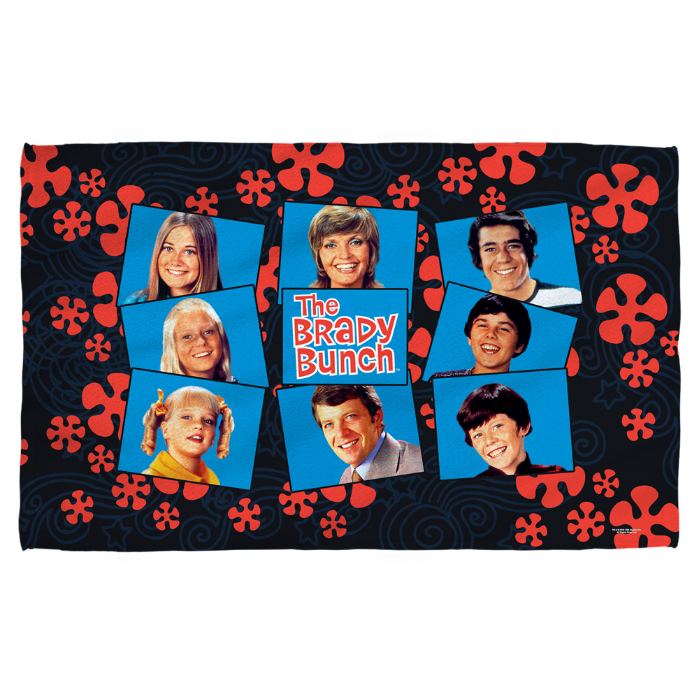 Brady Bunch Squares Bath Towel White 27X52