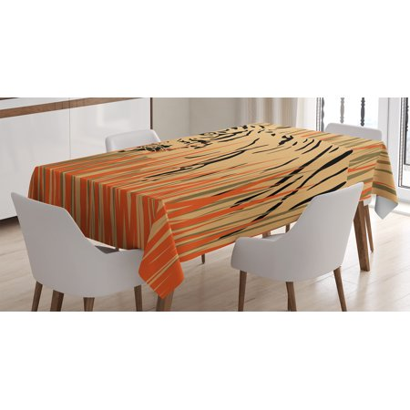 Wildlife Decor Tablecloth, Tiger in the Bushes Camouflage Carnivore Predator Feline Africa Animal Art, Rectangular Table Cover for Dining Room Kitchen, 60 X 84 Inches, Peach Orange, by Ambesonne