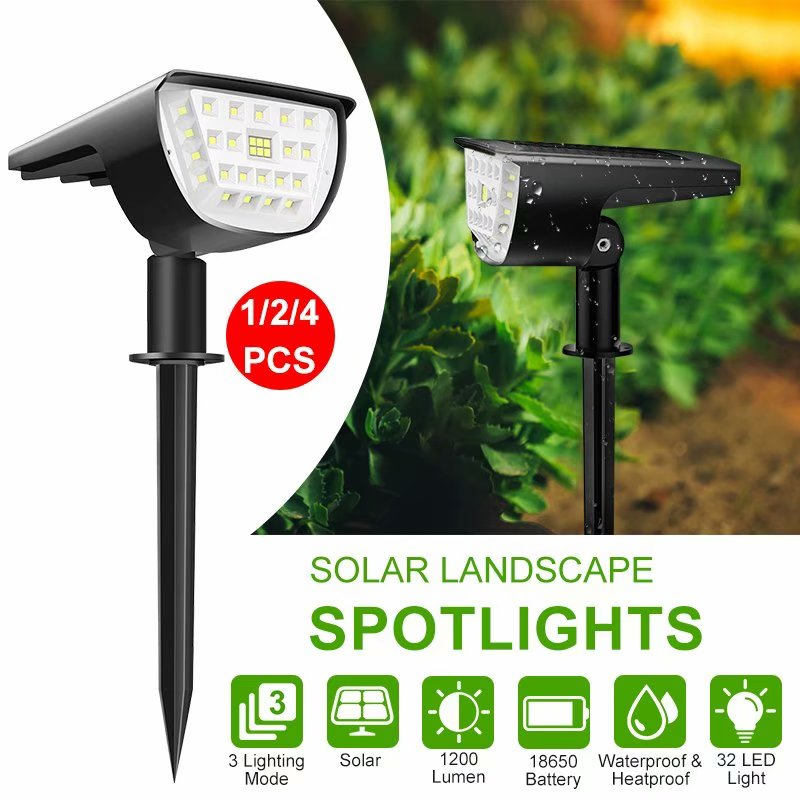 WAKYME 32 LED Solar Landscape Spotlight 2-in-1 Solar Wall Light IP67 Waterproof Solar Spot Lights Outdoor for Yard Garden Porch Walkway Driveway Pool Patio Cool White 2 Pack