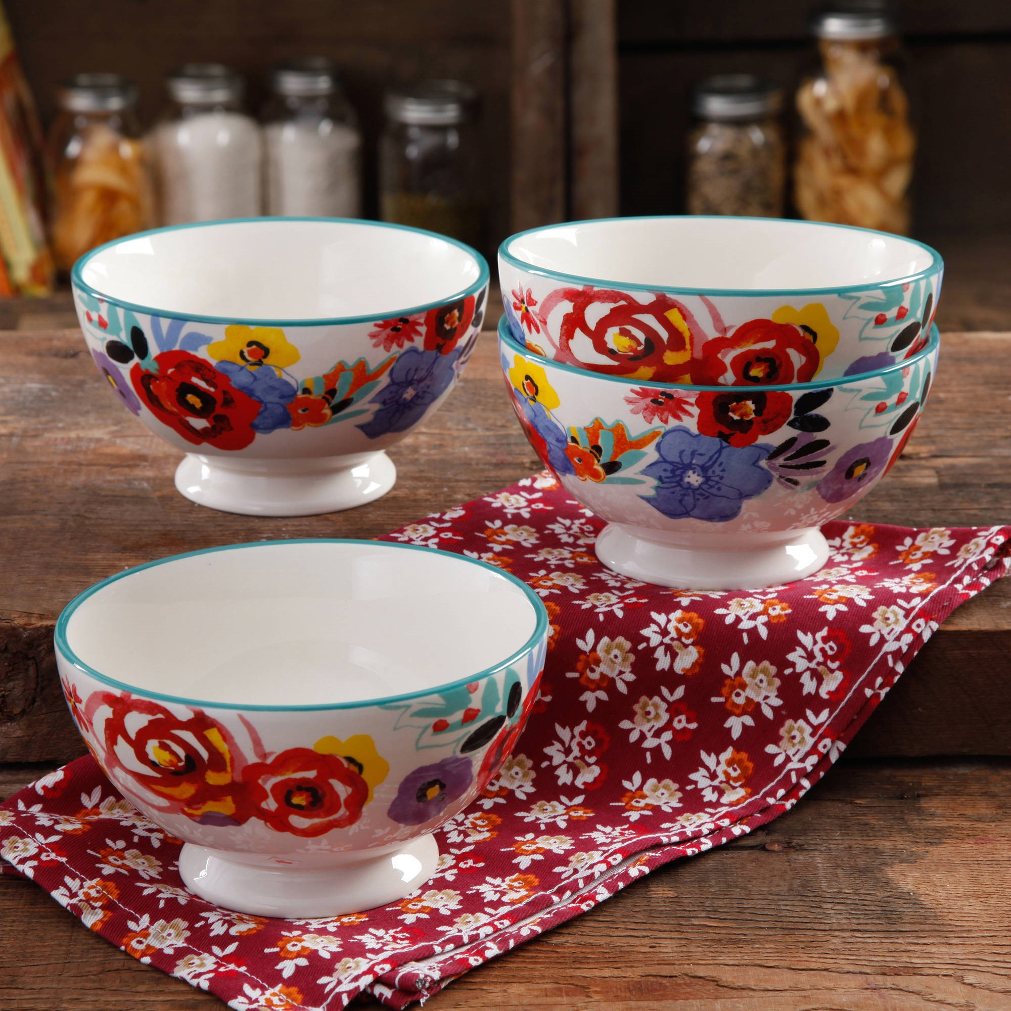 The Pioneer Woman Flea Market Floral 6  Footed Bowl, 4-Pack