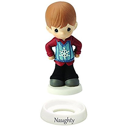 "Precious Moments, Christmas Gifts, ""Naughty And Niceâ€, Boy, Bisque Porcelain Figurine,"