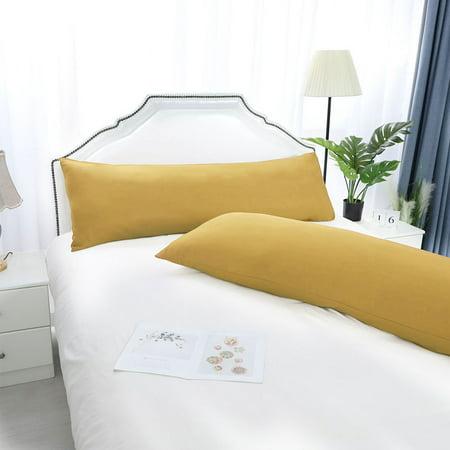 "Set of 2 Body Pillow Cover Long Soft Pillow Case for Body Pillows Gold 20""x48"" - image 1 de 8"