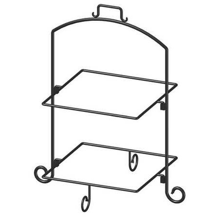 ITI WR-132 Square Plate Stand, Blk, Iron, 2 Tier, 13In