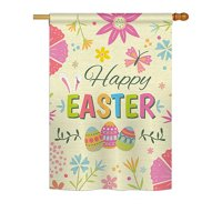 "Ornament Collection - Happy Easter Colourful Flowers Spring - Seasonal Easter Impressions Decorative Vertical House Flag 28"" x 40"" Printed In USA"