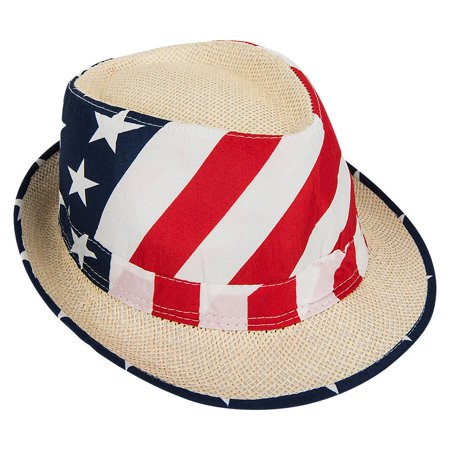 Mozlly Adult Unisex Patriotic USA American Flag Vented Fedora Hat Photo Prop](Top Hat Prop)