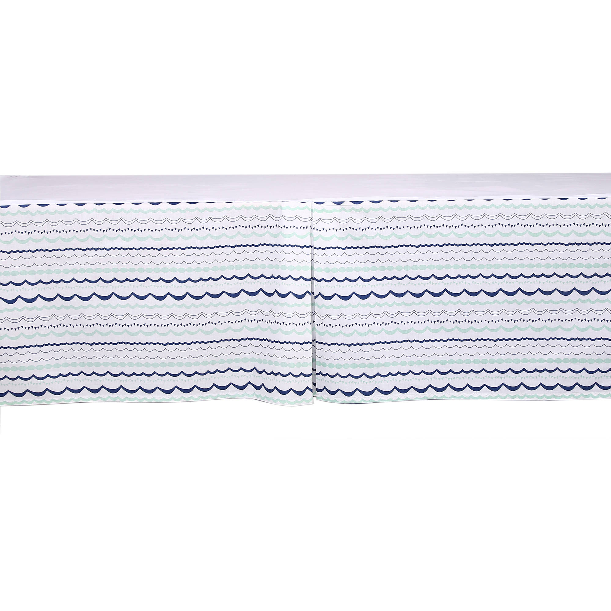Bacati - Noah Tribal Garland Mint/Navy Tailored with 100% Cotton Percale 13 inch drop Crib/Toddler Bed Skirt
