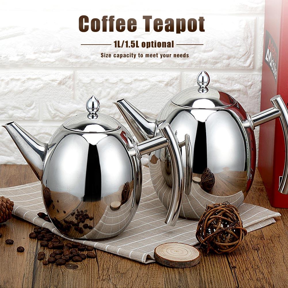 Durable Acier Inoxydable Théière Café Pot teaset Bouilloire Filtre Infuseur Verre à