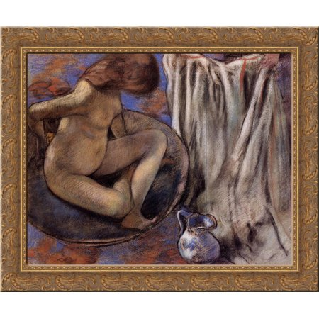 Woman in the Tub 24x20 Gold Ornate Wood Framed Canvas Art by Edgar Degas - Gold Tux